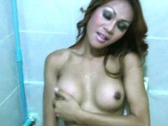 Redhead Ladyboy Exposes Her Bigtits And Gives Handjob In Pov