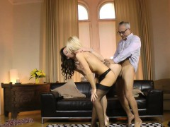 Glam Milf Shares Cock With Clitpierced Babe