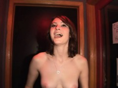 Stunning Brunette Partygoer Slips Out Of Her Black Dress To Display Her Nice Tits And Ass