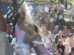 Partygoing Chicks Of All Sizes Bare Their Tits And Asses In An Outdoor Wet T shirt Contest