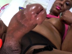 Shemale Holly Hung Strokes Her Black Dick