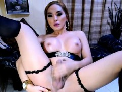 Asian Tranny In Sexy Black Lingerie