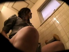 A Hidden Camera In The Bathroom Catches Foxy Gals Taking A