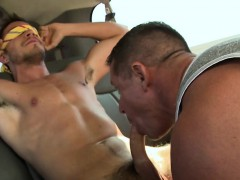 10 pounder Riding With Two Homo Hunks At The Car Park