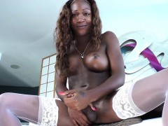 Solo Ebony Tgirl In White Lingerie Wanking