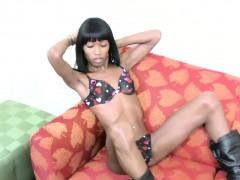 Kinky Ebony Shedoll In Boots Strips Off Her Black Bikini
