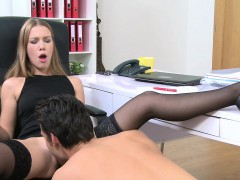 female-agent-spreads-legs-and-gets-licked