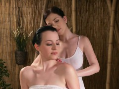 busty-lesbian-masseuse-fingering-brunette-babe