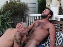 Hairy gay anal sex with facial cum