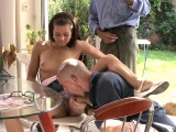 He licks and fucks her cunt while old husband watch