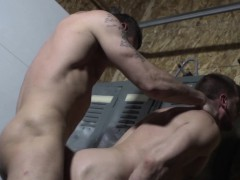 Muscle Stud Cums While Assfucked In Lockeroom