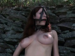 Tied Up Chick Gets Her Cookie Lips Opened Up For Castigation