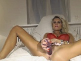 blonde MILF model anal and pussy fuck DP webcam show