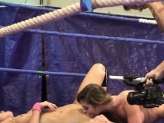 Busty Wrestling Babe Seducing Lesbos Pussy
