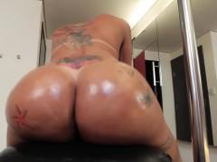 Heeled Latina Tgirl Toys Ass While Jerking