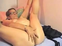 Masturbation Granny Masturbating Solo Blonde Dildo
