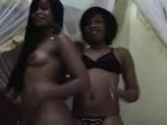 sweet lesbian ebonies enjoy eating and playing with