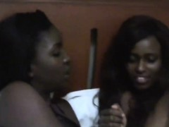 Horny African Lesbians With Sexy Figures Remove Their