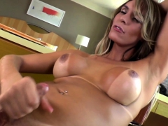 Busty Shemale Squirts Milk And Spays Cum