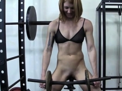 Female muscle Charlotte in the gym getting fingers and toys