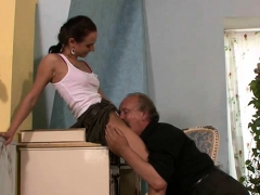 Horny old dad screws his girlfriend