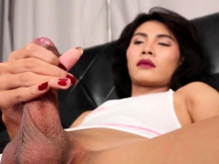Real Ladyboy Wanking Her Cock In Closeup