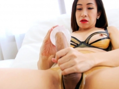 Sexy Tranny Fucks Cock With Fleshlight Then Masturbates