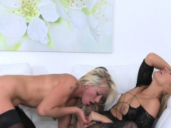 Sexy Blondes Have Lesbian Sex On Casting