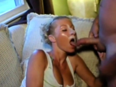 blonde takes massive facial, followed by gooey jizz play