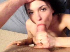 Great Pov Blowjob With Sexy Cock Hungry Brunette