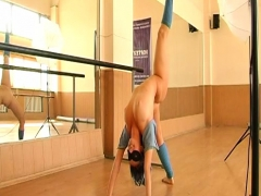 Sexy Girl Gymnast In Mask