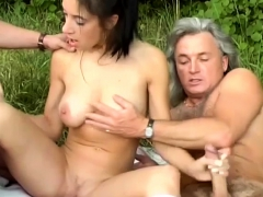 sexy girl picked up for outdoor orgy