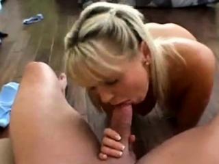 Dirty talking blonde whore worships cock