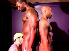 Interracial trio jerking cock before cumshot