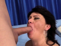 granny takes a stiff cock in her mouth and cunt