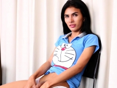 Real Ladyboy Jerks Off Until She Squirts Cum