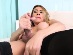 Hot Shemale Jerking Her Big Cock
