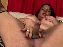 Chunky Transsexual Spreads Ass And Jerks Cock