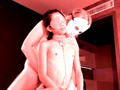 Ladyboy Shemale Blindfolded Blowjob To A Big White Cock