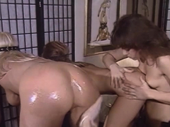 perfect ass lesbian babes turn around for backdoor dildo poking