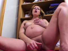 knocked-up-blonde-fucks-herself-with-a-toy