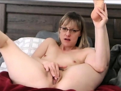 amazing short hair milf with glasses caught masturbating