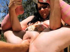 Double fisting and champagne bottle fucked BBW pussy