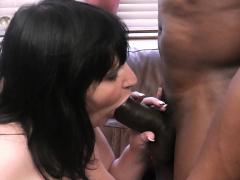 brunette bbw enjoys blowing and riding big black dick