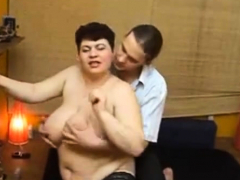 russian couple home video, massive breasts