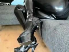 latex tight shiny catsuit