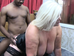 Laceystarr – Leather Clad Granny Gets Interracial Spitroast Porn Video