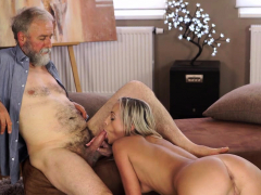 OLD4K. Old man with beard actively stretches young blonde…