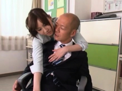 Hawt japanese teacher gets a lot of shlong in her tiny holes