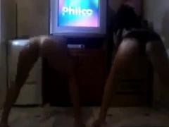 Two hot brazilian girls dancing funk